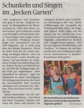 """Schunkeln und Singen im """"Jecken Garten"""""""