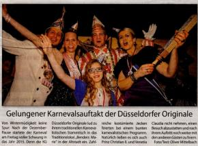 Gelungener Karnevalauftakt der Düsseldorfer Originale